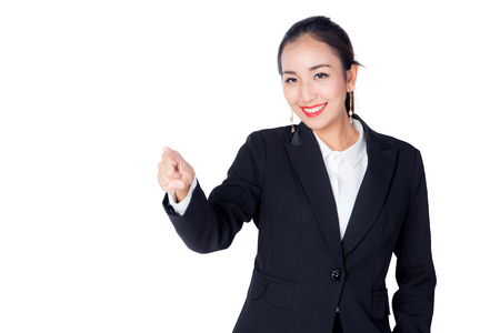 buisness woman: Young Buisness woman with finger point up on white background