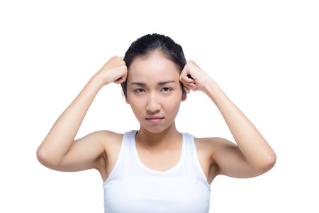 asian woman strain with thinking isolated on white background