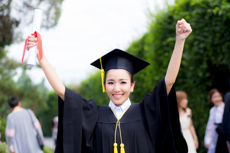 Happy graduated student girl, congratulations - graduate education success, concept education. Stok Fotoğraf