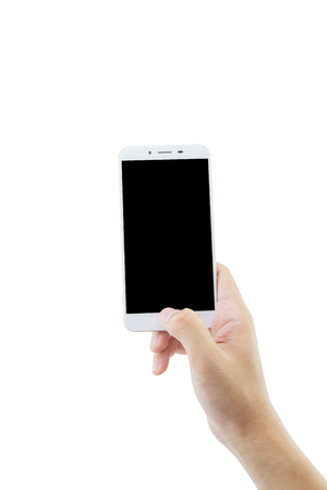 media gadget: hand holding white phone isolated on white background - clipping path.