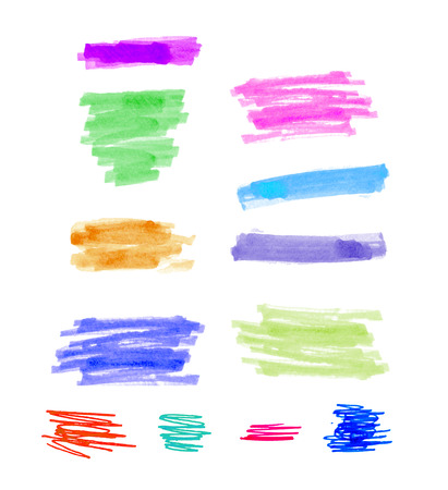 highlight: hand drawn colorful highlight stripes design elements brushes marker strokes.