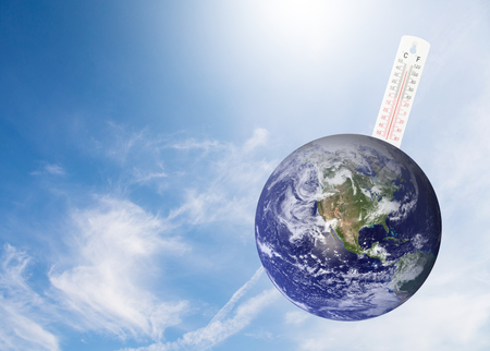 thermometer check the earths temperature with impact of global environment concept, Elements of this image furnished by NASA.