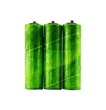 green rechargeable aa alkaline battery with leaves shape- using environment friendly product concept.