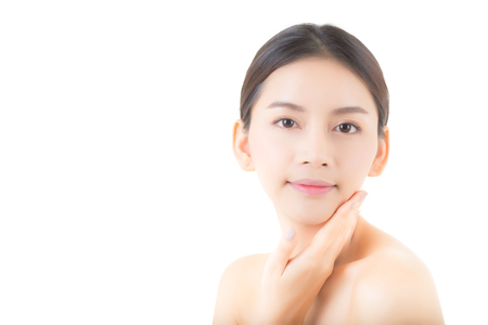 Beautiful girl with makeup, woman and skin care concept / attractive asia girl smilling on face isolated on white background. Stockfoto