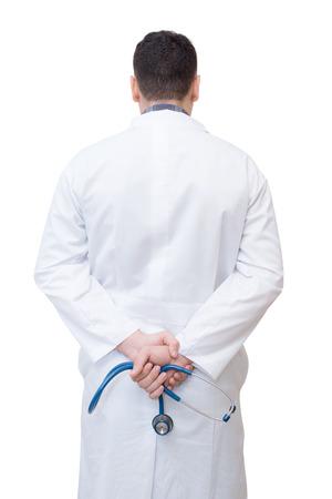 Doktor mit Stethoskop isoliert auf weißem Hintergrund Standard-Bild - 83988138