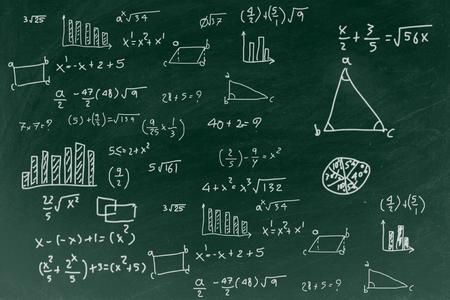 Schoolbord met het schrijven van wiskundige formule achtergrond, terug naar school onderwijs concept. Stockfoto