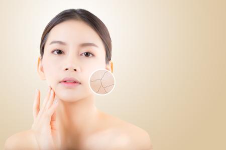 huidverzorging en gezondheid en cosmetica concept - mooie Aziatische jonge vrouw gezicht met rimpels over cirkels voor reclame. Stockfoto