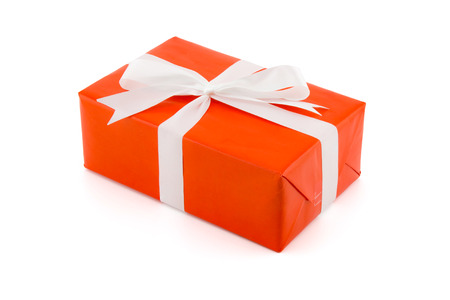 red gift box white ribbon isolated on white background, using for christmas and new year or holiday other.