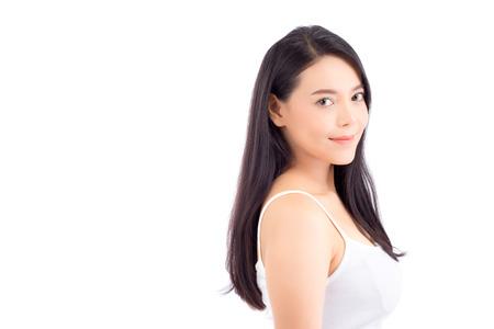 Porträt des schönen asiatischen Frauenmake-up der Kosmetik, Mädchenhandlächeln attraktiv, Gesicht der Schönheit perfekt mit Wellness lokalisiert auf weißem Hintergrund mit Hautgesundheitspflegekonzept. Standard-Bild - 89091497