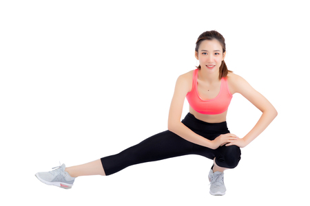 Beautiful portrait young asian woman stretching exercise isolated on white background, fitness sport girl aerobic with smile happy, female workout, health concept. Zdjęcie Seryjne