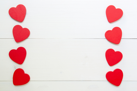 Red Heart with love on wooden background, 14 February Valentine day on grunge white wood, celebration and holiday concept, top view, copy space. Stock Photo
