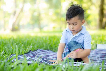 어린 아시아 소년은 공원에서 책을 읽고 쓰고, 여름에는 숙제와 공부를 하고, 아이들은 휴가, 교육 및 개발 개념에서 공책에 그림을 그리며 휴식을 취합니다. 스톡 콘텐츠