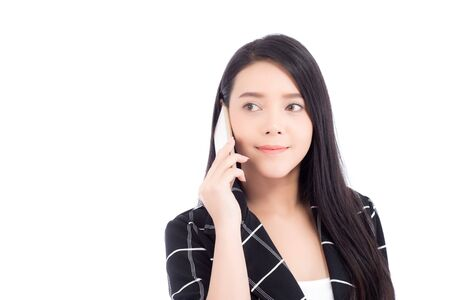Beautiful of portrait asian young woman smile and happy talking calling with mobile phone isolated on white Stockfoto