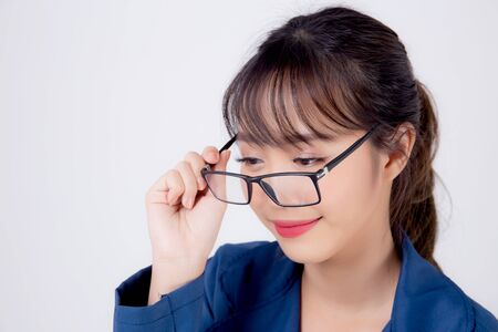 beautiful portrait young business asian woman standing wearing glasses with confident isolated on white background, asia businesswoman career secretary or accountant work success with smiling happy. Archivio Fotografico - 133666634