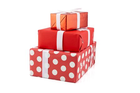 A lot of gift box and white ribbon in season Christmas and new year isolated on white background, group luxury present for birthday or anniversary with surprise in package for happy, holiday concept. Stock Photo
