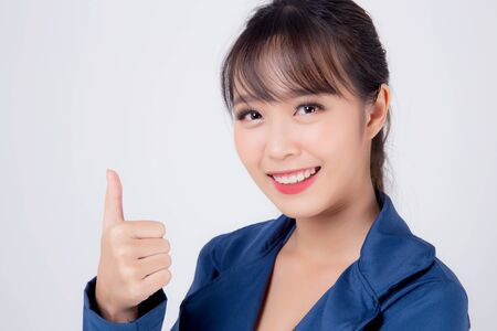 beautiful portrait young business asian woman standing gesture thumbs up sign with confident isolated on white background, asia businesswoman career secretary work success with smiling and happy. Archivio Fotografico - 133663775