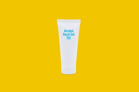 Mock up product alcohol hand gel 70% isolated on yellow Banque d'images