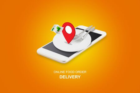 Delivery food order concept, app service online to internet with phone