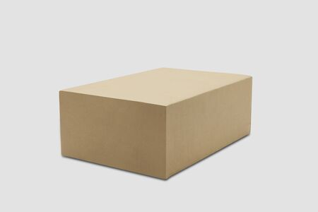 Mockup closed brown paper box isolated on white