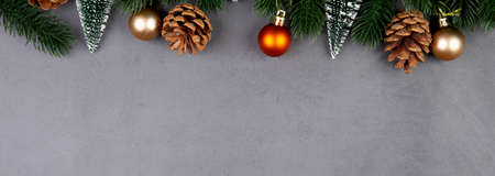 Christmas holiday composition decoration on cement floor background, new year and xmas or anniversary with presents in season, celebrate and copy space, top view or flat lay, banner website. Stok Fotoğraf
