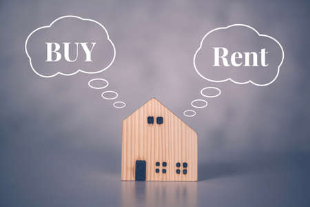 Rent or buy home with real estate for benefits, decision about planning and strategy of house and tax, property with success and saving financial, comparison and advantage, business concept.