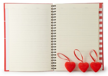 address book: Phone Book with two hearts