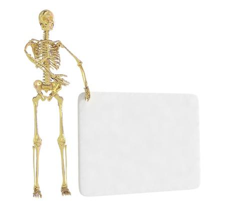 Gold skeleton isolated on a white background photo