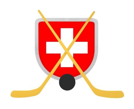 Switzerland shield ice hockey isolated on a white background