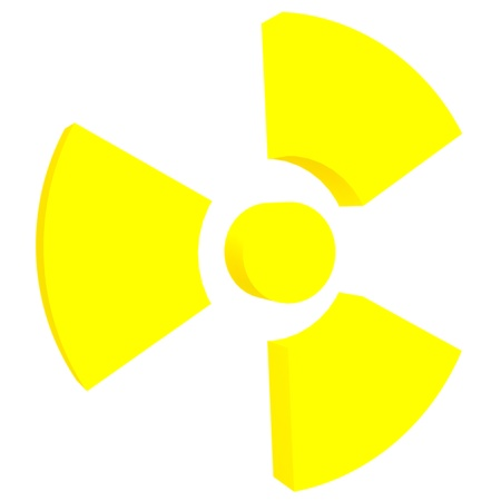 infectious waste: Sign of radiation isolated on a white background Stock Photo