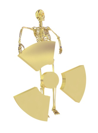 Gold skeleton and radiation symbol isolated on a white background photo