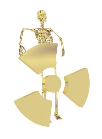 Gold skeleton and radiation symbol isolated on a white background photo