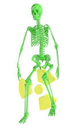 infectious waste: Green skeleton and radiation symbol isolated on a white background