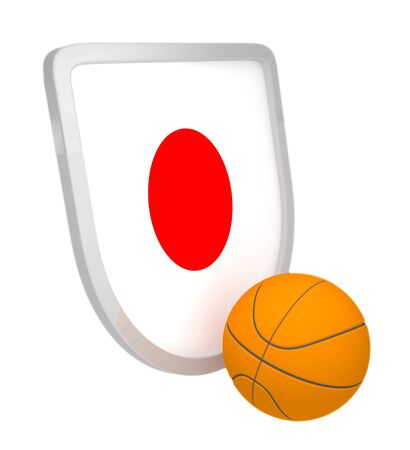 Japan shield basketball isolated on a white background photo
