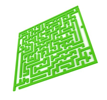 unstoppable: The green maze isolated on a white background Stock Photo