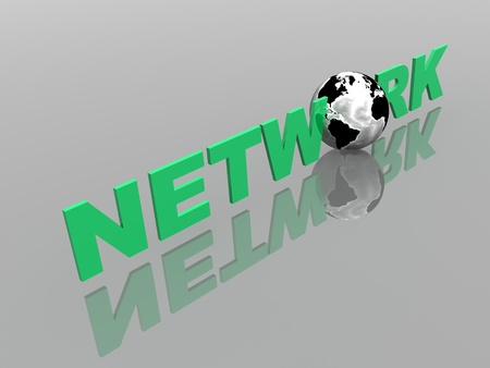 Global Network in 3d with World Globe photo