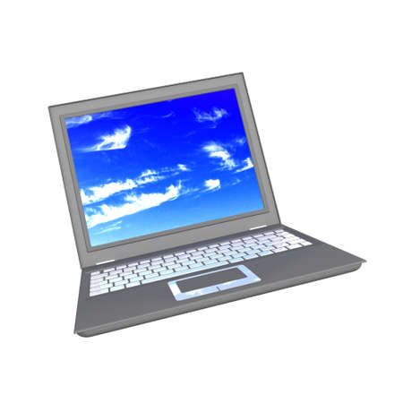3d notebook isolated with blue sky on a white background photo