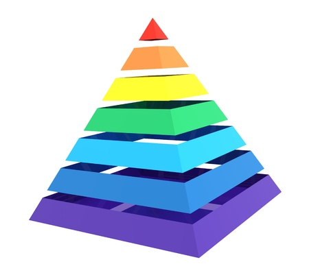 Close up of a abstract colorful rainbow pyramid photo