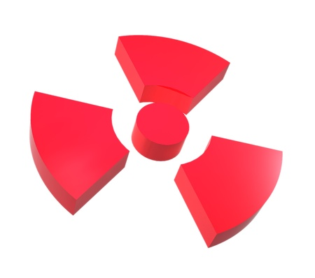 Sign of radiation isolated on a white background photo