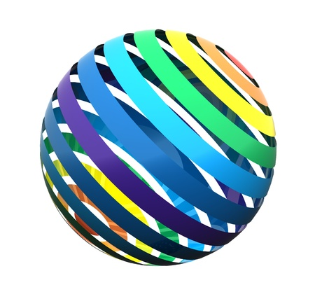 Gros plan d'une sphère arc-en-ciel coloré abstrait