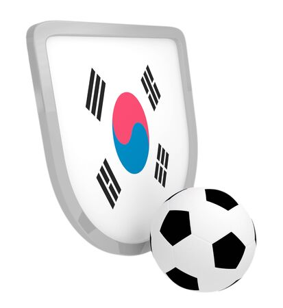 South Korea shield soccer isolated on a white background photo