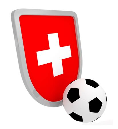 Switzerland shield soccer isolated on a white background photo