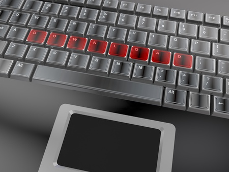 3d of the word download on a keyboard photo