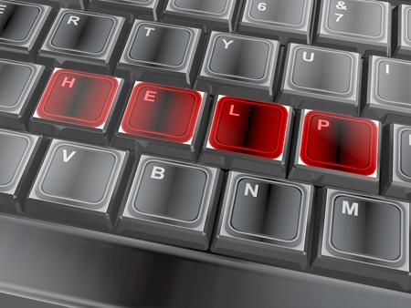 3d of the word help on a keyboard photo