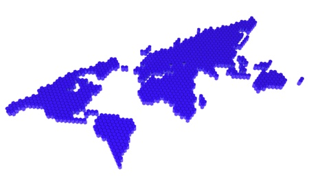The blue polygons map of the world photo