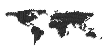 The black polygons map of the world isolate on a white Foto de archivo