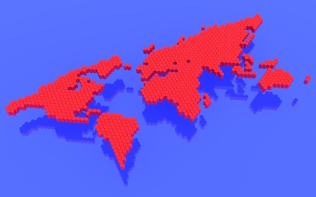 The red polygons map of the world photo