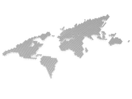 The polygons map of the world isolated on a white background photo