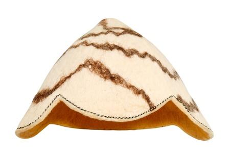 pokrývka hlavy: pokrývky hlavy pro sauny z vlny izolovaných na bílém pozadí Reklamní fotografie
