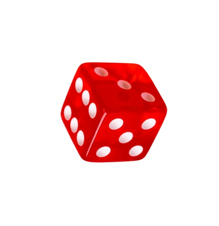 Red dice isolated on a white background Foto de archivo