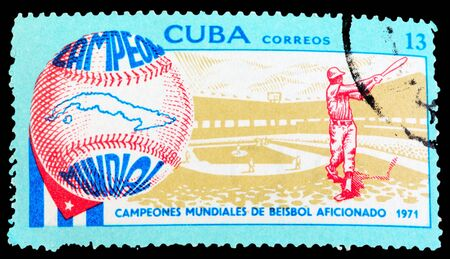 CUBA - CIRCA 1971: A Stamp printed in Cuba shows baseball, circa 1971 photo